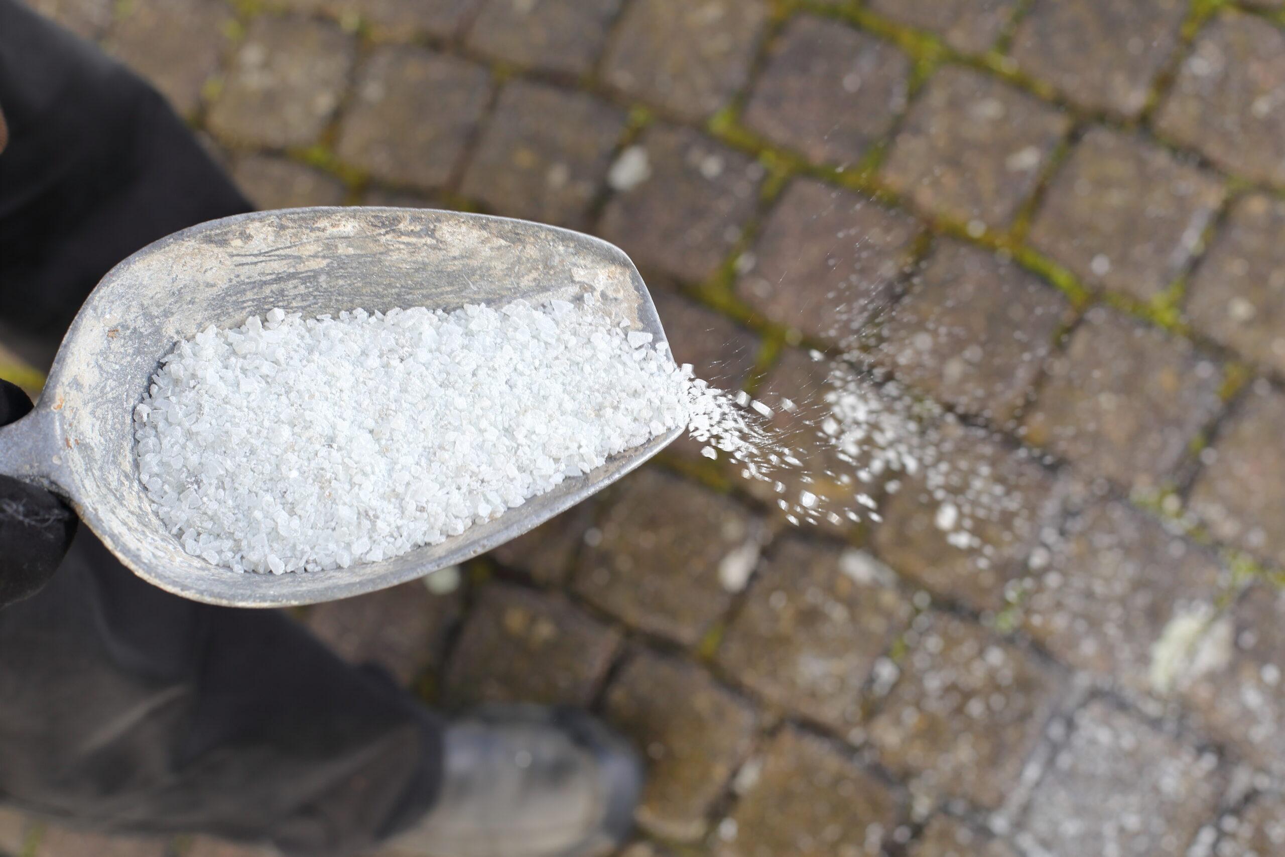 Winter gritting white salt