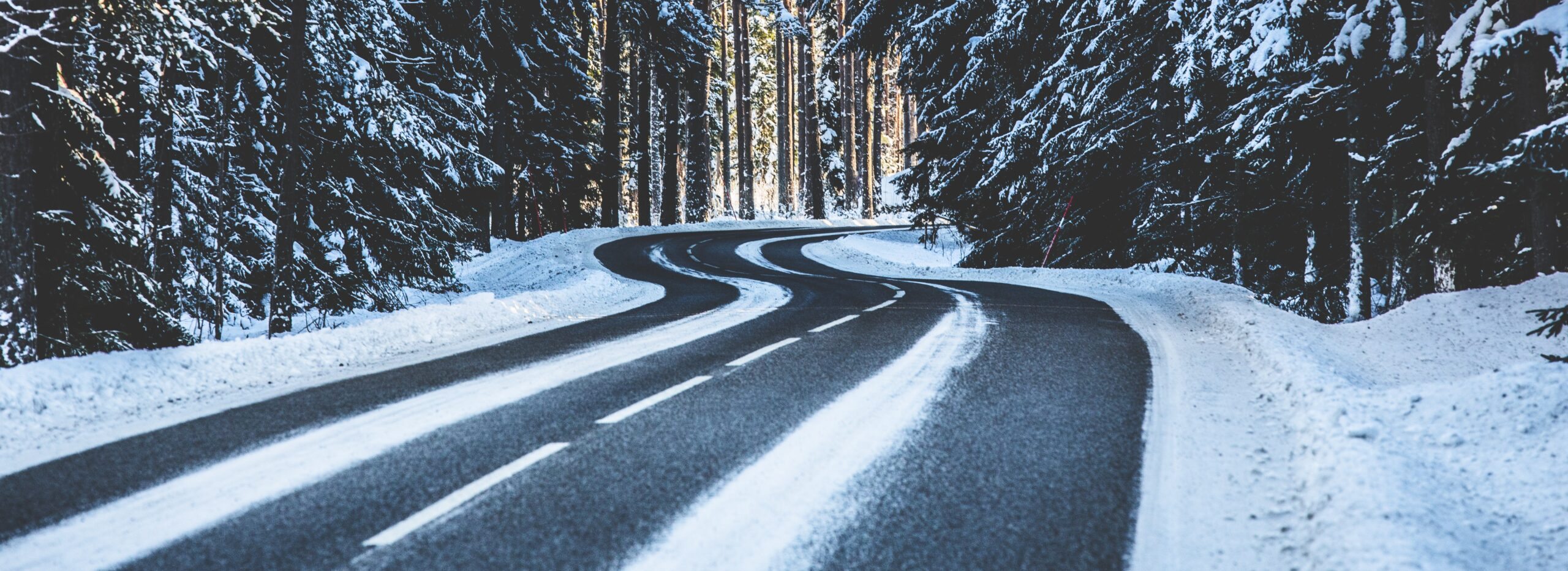 Winter road with snow