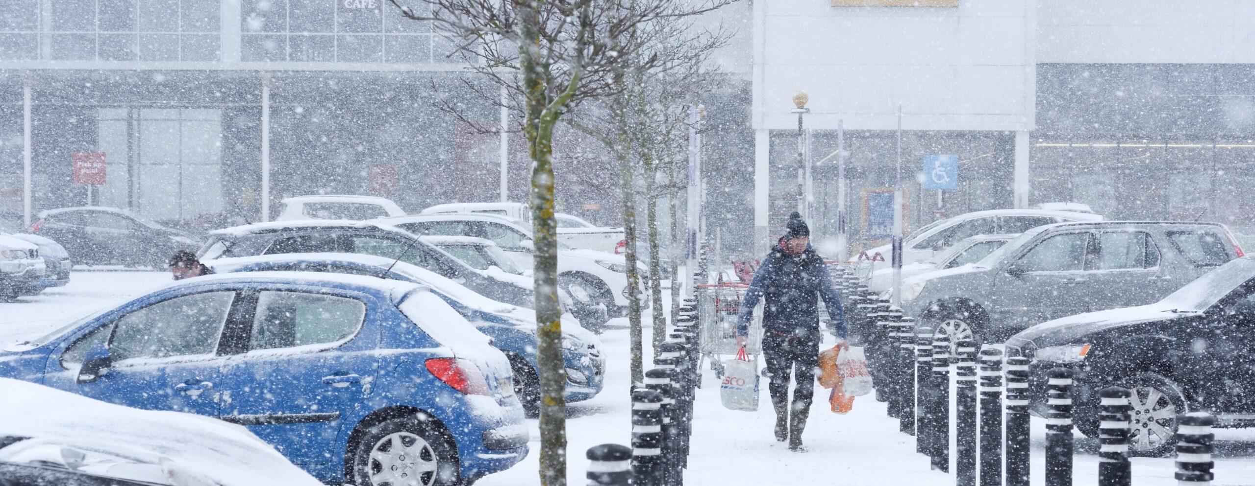 Man walking snow
